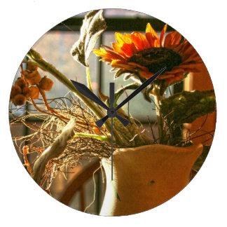 Vase of Flowers in Window Acrylic Clock