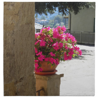 Vase of flowers just around the corner napkins