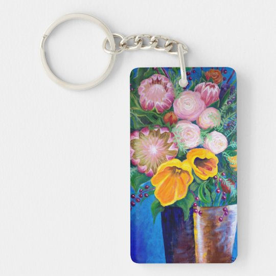 Vase of Flowers -- Proteas, Tulips and Roses Double-Sided Rectangular Acrylic Keychain