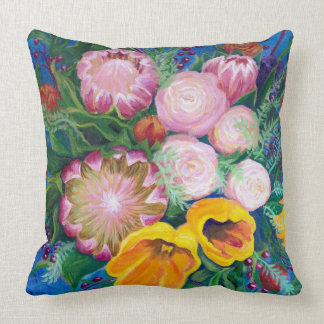 Vase of Flowers -- Proteas, Tulips and Roses Throw Pillow