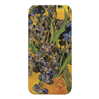 Vase of Irises Against a Yellow Background iPhone 5 Cases
