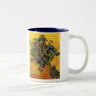Vase of Irises Against a Yellow Background Mug