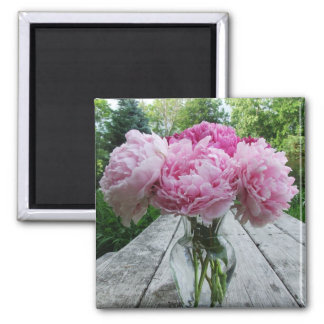 Vase of Pink Peonies Square Magnet