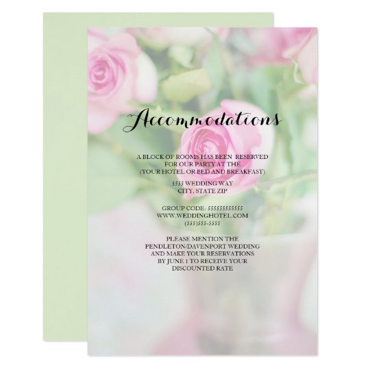 Vase of Pink Roses Wedding  Accommodations Card