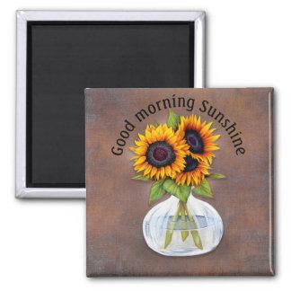 Vase of Sunflowers Good Morning Sunshine Magnet