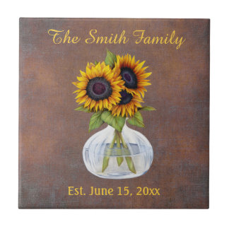 Vase of Sunflowers on Brown Family Name Date Est. Tile