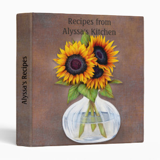 Vase of Sunflowers on Brown Rustic Personalized Binder