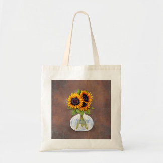 Vase of Sunflowers on Brown Rustic Tote Bag