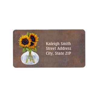 Vase of Sunflowers on Rustic Brown Address Label