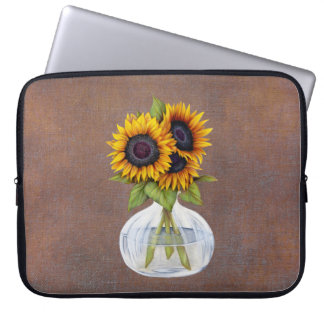 Vase of Sunflowers on Rustic Brown Laptop Sleeve