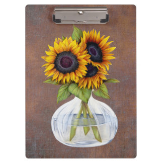 Vase of Three Beautiful Sunflowers on Brown Clipboard