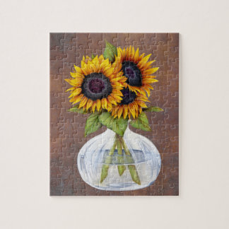 Vase of Three Beautiful Sunflowers on Brown Jigsaw Puzzle