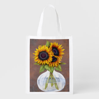 Vase of Three Beautiful Sunflowers on Brown Reusable Grocery Bag