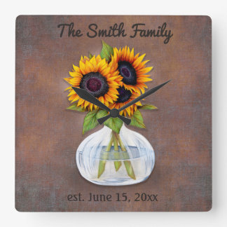 Vase of Three Beautiful Sunflowers on Brown Square Wall Clock