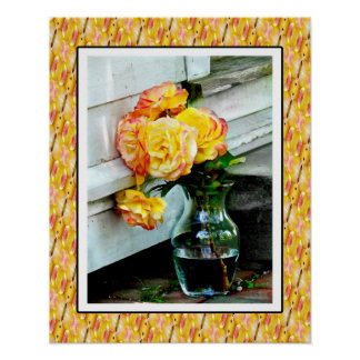 Vase of Yellow Roses with Border Poster