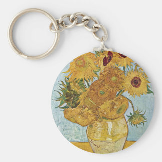 Vase With 12 Sunflowers By Vincent Van Gogh Keychain