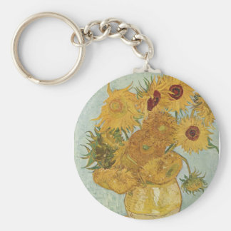 Vase with 12 sunflowers Vincent Van Gogh Keychain