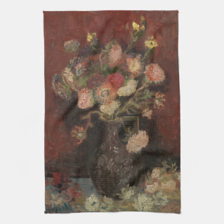 Vase with Chinese Asters and Gladioli by Van Gogh Kitchen Towel