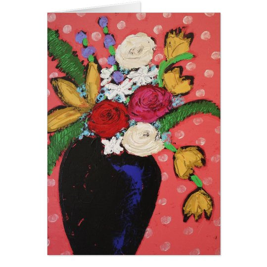 vase with colourful flowers card