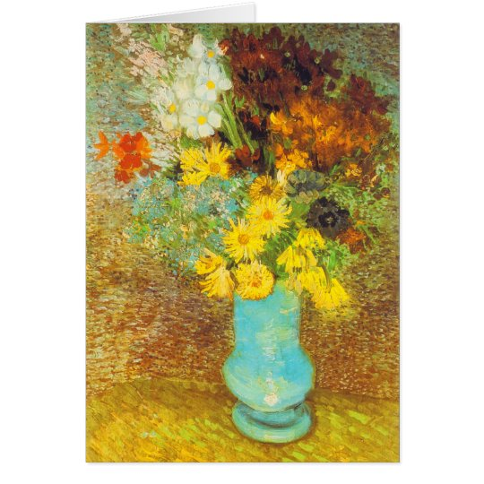 Vase with Daisies and Anemones Print Card