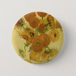 Vase with Fifteen Sunflowers by Van Gogh 2 Inch Round Button