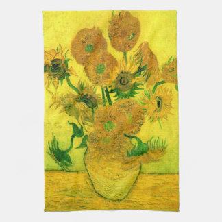 Vase with Fifteen Sunflowers Van Gogh Fine Art Kitchen Towel