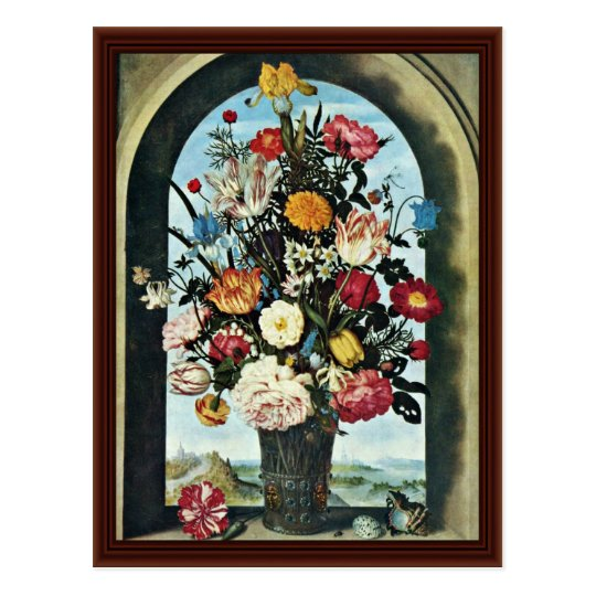 Vase With Flowers In A Window. Met, Postcard