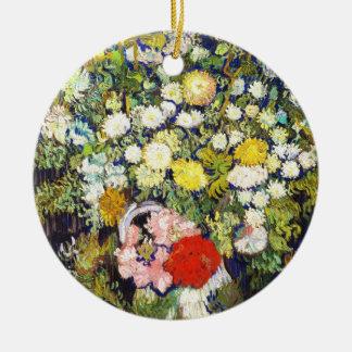 Vase with Flowers Vincent van Gogh fine art Round Ceramic Ornament