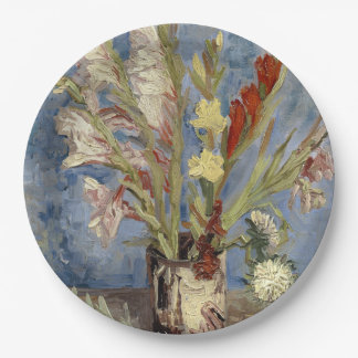 Vase with Gladioli and Chinese Asters by Van Gogh Paper Plate