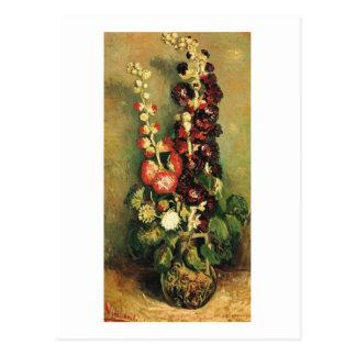 Vase with Hollyhocks (F235) Van Gogh Fine Art Postcard
