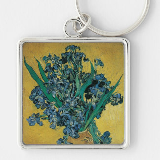 Vase with Irises by Vincent van Gogh, Vintage Art Keychain