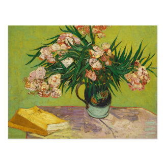 Vase with Oleanders & Books, Van Gogh Fine Art Postcard