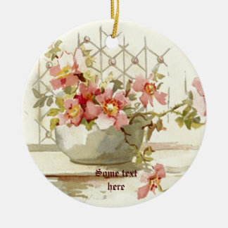 Vase with pinkroses vintage watercolor ornament