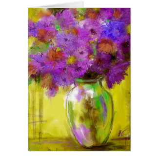 Vase with Purple Flowers Art Greeting Card