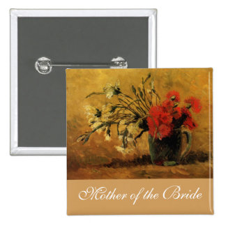 vase with red and white carnations, van Gogh 2 Inch Square Button