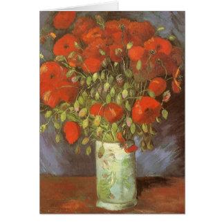 Vase with Red Poppies by Van Gogh Vintage Flowers Greeting Card