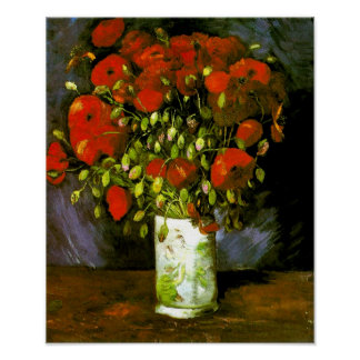 Vase with Red Poppies Van Gogh Fine Art Poster