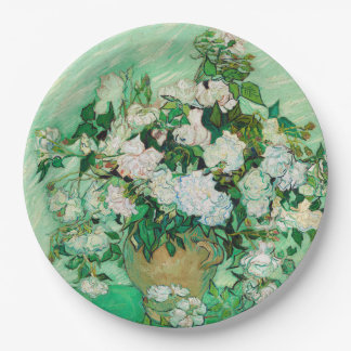 Vase with Roses by Vincent Van Gogh Paper Plate