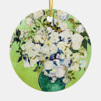 Vase with Roses Vincent Van Gogh painting Round Ceramic Ornament