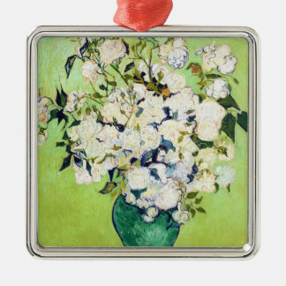 Vase with Roses Vincent Van Gogh painting Silver-Colored Square Ornament