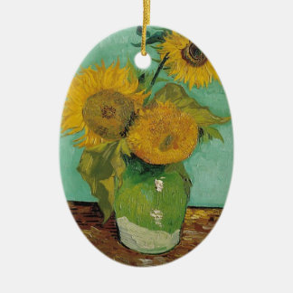 Vase with three sunflowers, Vincent van Gogh Ceramic Ornament