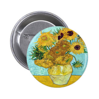 Vase With Twelve Sunflowers By Vincent Van Gogh 2 Inch Round Button