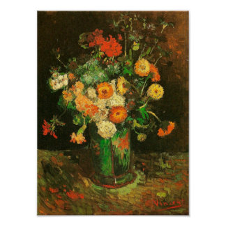 Vase with Zinnias & Geraniums Van Gogh Fine Art Poster