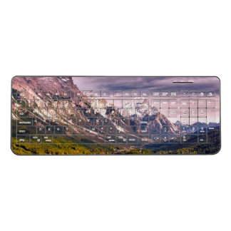 Vast valley with forests and villages wireless keyboard