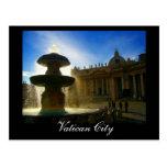 vatican city fountain post card