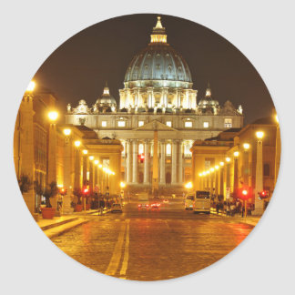 Vatican city, Rome, Italy at night Classic Round Sticker