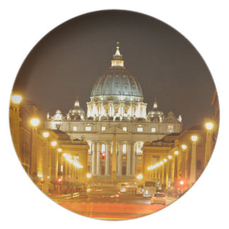Vatican city, Rome, Italy at night Plate