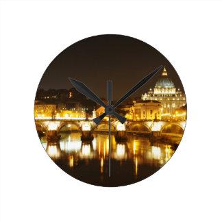Vatican city, Rome, Italy at night Round Clock