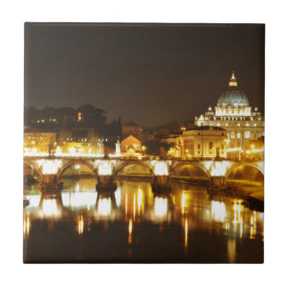 Vatican city, Rome, Italy at night Tile