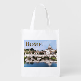 Vatican City Seen from Tiber River text   ROME Reusable Grocery Bag